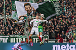 10.02.2019, Weserstadion, Bremen, GER, 1.FBL, Werder Bremen vs FC Augsburg<br /> <br /> DFL REGULATIONS PROHIBIT ANY USE OF PHOTOGRAPHS AS IMAGE SEQUENCES AND/OR QUASI-VIDEO.<br /> <br /> im Bild / picture shows<br /> Michael Gregoritsch (FC Augsburg #11) im Duell / im Zweikampf mit Niklas Moisander (Werder Bremen #18), <br /> <br /> Foto © nordphoto / Ewert