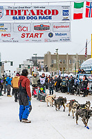 Aaron Burmeister and team leave the ceremonial start line with an Iditarider and handler at 4th Avenue and D street in downtown Anchorage, Alaska on Saturday March 7th during the 2020 Iditarod race. Photo copyright by Cathy Hart Photography.com