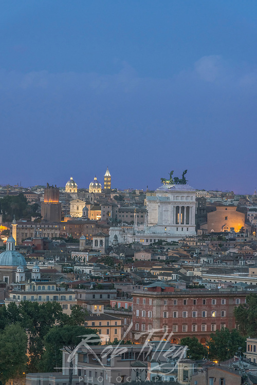 Europe, Italy, Rome, Looking Down on City Rooftops at Twilight