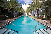 Infinity pool oceanside at The National Hotel in Collins Avenue, Miami South Beach, Florida USA