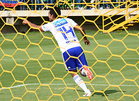 TUNJA-COLOMBIA, 14-04-2019: David Macalister Silva de Millonarios, celebra el gol anotado a Patriotas Boyacá, durante partido entre Patriotas Boyacá y Millonarios, de la fecha 15 por la Liga de Águila I 2019 en el estadio La Independencia en la ciudad de Tunja. / David Macalister Silva of Millonarios, celebrates a scored goal to Patriotas Boyaca, during a match between Patriotas Boyaca, and Millonarios, of the 15th date for the  Aguila Leguaje I 2019 at La Independencia stadium in Tunja city. Photo: VizzorImage / José Miguel Palencia / Cont.