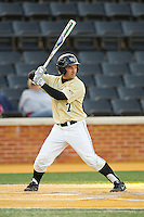 Joey Rodriguez (7) of the Wake Forest Demon Deacons at bat against the North Carolina State Wolfpack at Wake Forest Baseball Park on March 15, 2013 in Winston-Salem, North Carolina.  The Wolfpack defeated the Demon Deacons 12-6.  (Brian Westerholt/Four Seam Images)