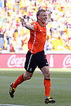 """14 JUN 2010:  Dirk Kuyt (NED)(7) celebrates the game winning """"own goal"""".  The Netherlands National Team defeated the Denmark National Team 2-0 at Soccer City Stadium in Johannesburg, South Africa in a 2010 FIFA World Cup Group E match."""