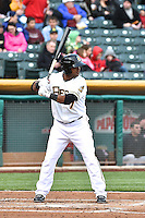 Luis Jimenez (7) of the Salt Lake Bees at bat against the Sacramento River Cats at Smith's Ballpark on April 3, 2014 in Salt Lake City, Utah.  (Stephen Smith/Four Seam Images)