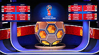 1st December 2017, State Kremlin Palace, Moscow, Russia; The display boards show the drawn groups from A to H during the FIFA 2018 World Cup draw, at the State Kremlin Palace in Moscow, Russia, 01 December 2017. Group A includes Russua, Saudi Arabia, Egypt und Uruguay. Group B includes Portugal, Spain, Marocco and Iran. Group C includes France, Australia, Peru und Denmark. Group D includes Argentina, Iceland, 1st December 2017, State Kremlin Palace, Moscow, Russia; Croatia and Nigeria . Group E includes Brazil, Switzerland, Costa Rica and Serbia. Group F includes Germany, Mexico, Sweden, and South Korea. Group G includes Belgium, Panama, Tunisia, and England. Group H includes Poland, Senegal, Columbia, and Japan.