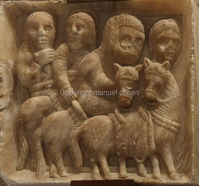 Alabaster relief of knights, late 12th century, from the Cathedral of St Mary, designed by Benito Dalguayre in Catalan Gothic style and begun 1347 on the site of a Romanesque cathedral, consecrated 1447 and completed in 1757, Tortosa, Catalonia, Spain. The cathedral has 3 naves with chapels between the buttresses and an ambulatory with radial chapels. Picture by Manuel Cohen