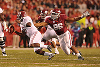 NWA Media/Michael Woods --10/11/2014-- w @NWAMICHAELW...University of Arkansas defender Trey Flowers puts the pressure on Alabama quarterback Blake Sims in the 3rd quarter of Saturdays game at Razorback Stadium in Fayetteville.