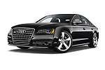 Stock pictures of low aggressive front three quarter view of 2014 Audi S8 Base 4 Door Sedan