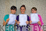 Celebrating their Leaving  Cert results at Mercy Mounthawk on Wednesday were Charlene Morrison, Ciara Hill and Jessica Eveleigh