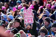 Washington, DC - January 27, 2017: A man holds a sign as tens of thousands of people participate in the annual March for Life on the National Mall in the District of Columbia, January 27, 2017.  (Photo by Don Baxter/Media Images International)