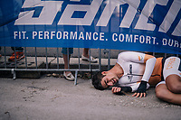 Andreas Miltiadis (CYP) downed by fatigue after finishing<br /> <br /> MEN UNDER 23 INDIVIDUAL TIME TRIAL<br /> Hall-Wattens to Innsbruck: 27.8 km<br /> <br /> UCI 2018 Road World Championships<br /> Innsbruck - Tirol / Austria