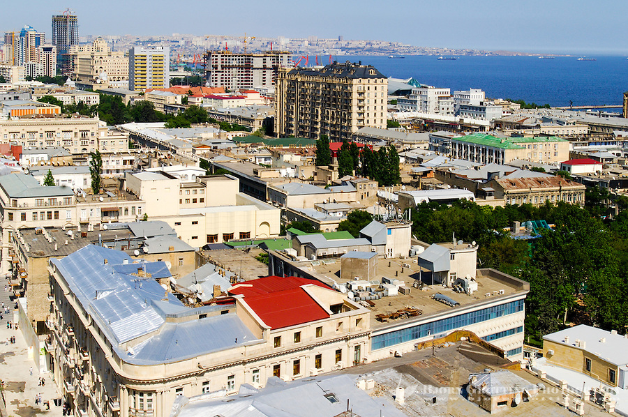 Azerbaijan, Baku. Baku city view with the harbpur and the Caspian Sea in the background.