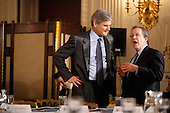 AOL co-founder and former CEO and Chairman Steve Case (L) talks with Director of the National Economic Council Director Gene Sperling before a meeting of  President Barack Obama's Council on Jobs and Competitiveness, a group of business leaders tapped to come up with job-spurring ideas, in the State Dining Room at the White House January 17, 2012 in Washington, DC. Headed by General Electric CEO Jeffrey Imelt, the council released a report with suggestions, including investment in education and research and development, support for the manufacturing sector and reform in the tax and regulatory systems. .Credit: Chip Somodevilla / Pool via CNP