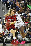 COLUMBUS, OH - MARCH 30: Kylee Shook #21 of the Louisville Cardinals  looks for an open pass as Teaira McCowan #15 of the Mississippi State Bulldogs defends during a semifinal game of the 2018 NCAA Division I Women's Basketball Final Four at Nationwide Arena in Columbus, Ohio. (Photo by Justin Tafoya/NCAA Photos via Getty Images)