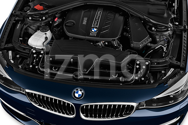 High angle engine detail of a  2013 BMW 318d Gran Turismo Luxury Hatchback2013 BMW 318d Gran Turismo Luxury Hatchback