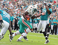 Ricky Williams scores a touchdown as his Miami Dolphins beat the Jacksonville Jaguars 14-10 at Jacksonville Municipal Stadium in Jacksonville, FL, December 13, 2009.  (Photo by Brian Cleary/www.bcpix.com)