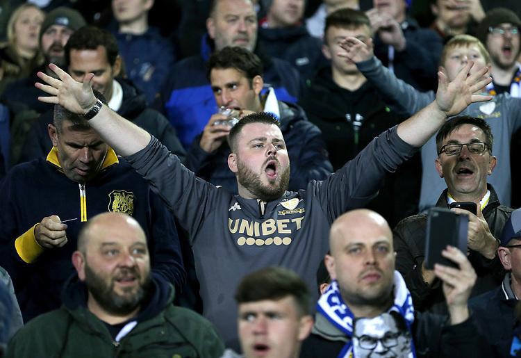 Leeds United fans enjoy the second action<br /> <br /> Photographer Rich Linley/CameraSport<br /> <br /> The EFL Sky Bet Championship - Tuesday 1st October 2019  - Leeds United v West Bromwich Albion - Elland Road - Leeds<br /> <br /> World Copyright © 2019 CameraSport. All rights reserved. 43 Linden Ave. Countesthorpe. Leicester. England. LE8 5PG - Tel: +44 (0) 116 277 4147 - admin@camerasport.com - www.camerasport.com