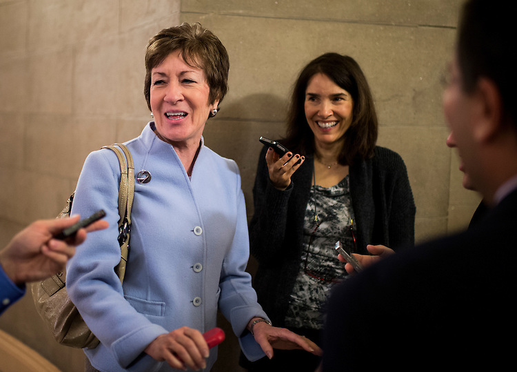 UNITED STATES - OCTOBER 10: Sen. Susan Collins, R-Maine, speaks with reporters as she leaves a Senate Republican caucus meeting in the Capitol on Thursday, Oct. 10, 2013. (Photo By Bill Clark/CQ Roll Call)