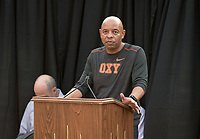 Rob Flot, Vice President for Student Affairs & Dean of Students.<br /> O-Team cheers for parents and students at the Welcome to Oxy event at the Remsen Bird Hillside Theater (Greek Bowl) as part of the official Orientation kickoff. Speakers then spoke to the assembled group. Incoming first-years and their families are welcomed by O-Team members and the community at the start of Occidental College's Fall Orientation for the class of 2021, Aug. 24, 2017.<br /> (Photo by Marc Campos, Occidental College Photographer)