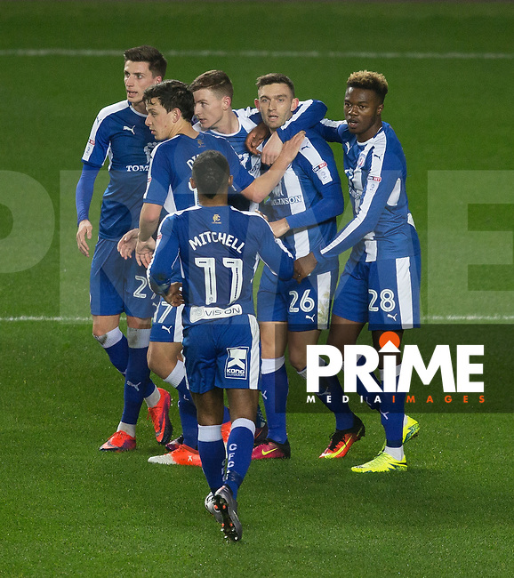 Jay O'Shea (26) of Chesterfield celebrates his goal with teammates 1 0 during the Sky Bet League 1 match between MK Dons and Chesterfield at stadium:mk, Milton Keynes, England on 22 November 2016. Photo by Andy Rowland.