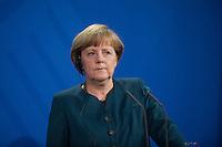 Berlin, Bundeskanzlerin Angel Merkel (CDU) im Bundeskanzleramt, bei einer Pressekonferenz mit dem Premierminister des Staates Katar.Deutschland - April 16:(Photo by Timur Emek/commonlens)