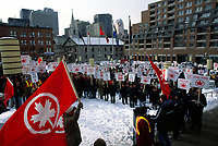 February 1995 File Photo - Air Canada employees on strike in Montreal, Canada.