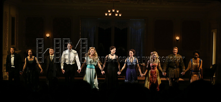 Alfredo Narciso, Brooke Bloom, Steven Boyer, Gabriel Ebert, Charlotte Parry, Elizabeth McGovern, Anna Camp, Anna Baryshnikov, Matthew James Thomas and Cara Ricketts during the Broadway Opening Night performance Curtain Call Bows for The Roundabout Theatre Company production of 'Time and The Conways'  on October 10, 2017 at the American Airlines Theatre in New York City.