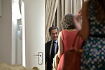Former French President Nicolas Sarkozy at the end of a meeting with Israel's President Shimon Peres (not seen), at the President's Residence in Jerusalem, Israel, on May 23, 2013.<br /> <br /> Photo by Ahikam Seri