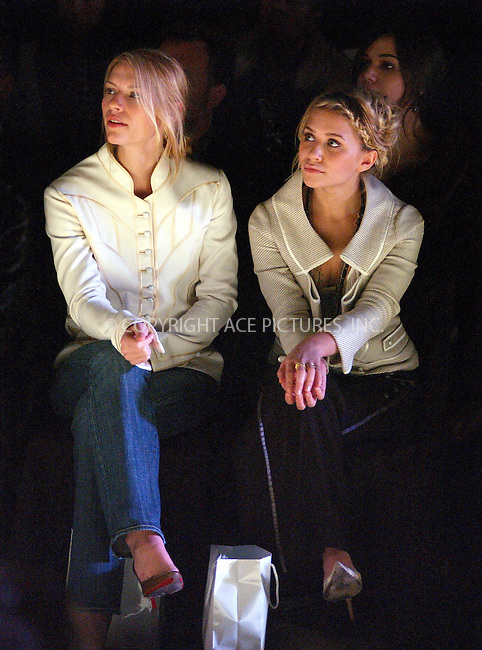 WWW.ACEPIXS.COM . . . . . ....NEW YORK, FEBRUARY 10, 2005....Claire Danes and Ashley Olsen at the Zac Posen Fall 2005 show in Bryant Park.....Please byline: KRISTIN CALLAHAN - ACE PICTURES.. . . . . . ..Ace Pictures, Inc:  ..Philip Vaughan (646) 769-0430..e-mail: info@acepixs.com..web: http://www.acepixs.com
