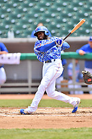 Tennessee Smokies center fielder Trey Martin (25) swings at a pitch during a game against the Mississippi Braves at Smokies Stadium on May 20, 2018 in Kodak, Tennessee. The Braves defeated the Smokies 7-4. (Tony Farlow/Four Seam Images)
