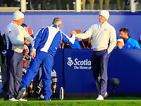 Captain Paul McGinley wishes Jamie Donaldson (EUR) luck on the 1st tee before starting his match during Saturday Mornings Fourball Matches  of the Ryder Cup 2014 played on the PGA Centenary Course at the Gleneagles Hotel, Auchterarder, Scotland.: Picture Eoin Clarke www.golffile.ie: 27th September 2014