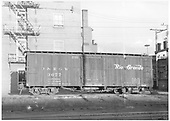 Side view of box car #3677 in Durango yards.<br /> D&amp;RGW  Durango, CO