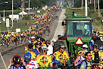 RAGBRAI riders fill the roadway on their way into Colo on the historic Lincoln Highway, part of this year's RAGBRAI route.  The Lincoln Highway, built in 1913, was America's first coast-to-coast highway.  The highway stretches almost 3400 miles from New York to San Francisco, crossing the states of New Jersey, Pennsylvania, Ohio, Indiana, Illinois, Iowa, Nebraska, Wyoming, Utah, Nevada, and California.