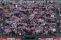 USA fans hold up scarves before the USA Men's National Team's World Cup Qualifier against Panama at Century Link Field in Seattle, WA on June 11, 2013.