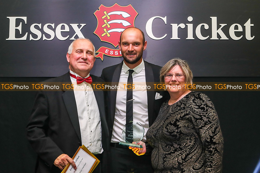 Nick Browne of Essex collects the Player Of The Year Award on behalf of Simon Harmer during the Essex CCC Awards at The Cloudfm County Ground on 3rd October 2018