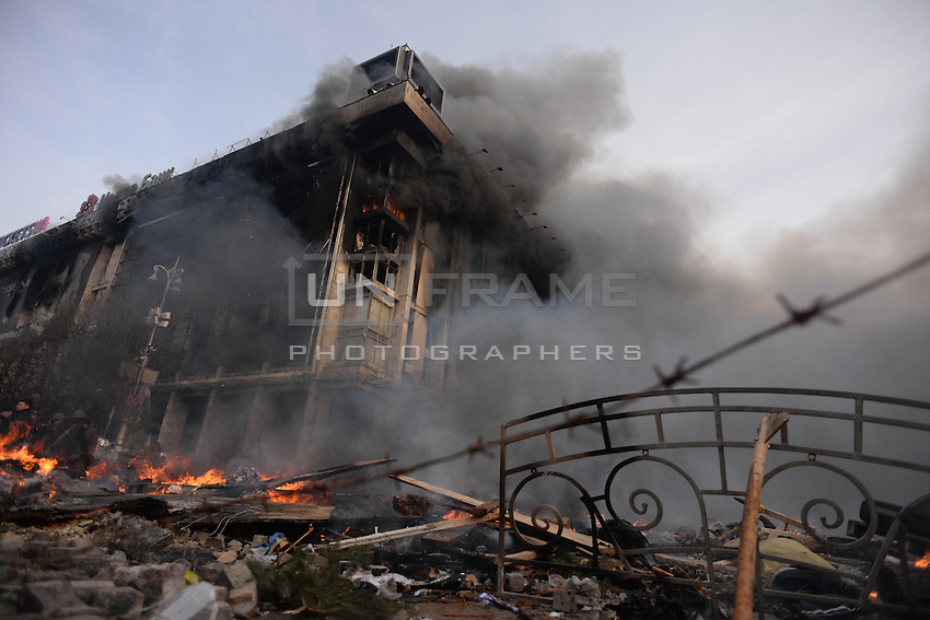 Trade union building facing Maidan square is burning into flames.  Kiev, Ukraine