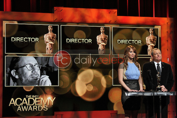 Jennifer Lawrence and Tom Sherak<br /> at the 84th Academy Awards Nominations Announcement, Academy of Motion Picture Arts and Sciences, Los Angeles, CA 01-24-12<br /> David Edwards/DailyCeleb.com 818-249-4998