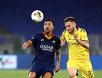 Football, Serie A: AS Roma - Hellas Verona Fc, Olympic stadium, Rome, July 15, 2020. <br /> Roma's Leonardo Pellegrini (l) in action with Verona's Alan Empereur (r) during the Italian Serie A football match between Roma and Hellas Verona at Rome's Olympic stadium, on July 15, 2020. <br /> UPDATE IMAGES PRESS/Isabella Bonotto