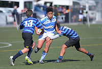 Action from the 2019 Hurricanes Youth Council Under-14 Boys' Rugby Tournament match between St Patrick's College Silverstream and Nelson College at Wakefield Park in Wellington, New Zealand on Monday, 2 September 2018. Photo: Dave Lintott / lintottphoto.co.nz