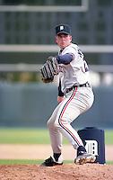Detroit Tigers pitcher Kurt Knudsen (27) during Spring Training 1993.  (MJA/Four Seam Images)