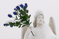 Plastic blue roses coated with fresh snow are held in the hand of a statue of St. Michael at a Columbus, Ohio, Catholic school.  Photo Copyright Gary Gardiner. Not for reproduction without written permission.