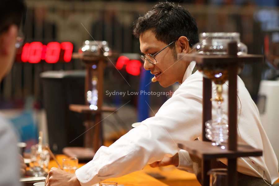 MELBOURNE, AUSTRALIA - MAY 23 Alejandro Escobar Vazquez from Mexico in action on day one of the 2013 World Barista Championship at the Melbourne Showgrounds, Australia. Photo Sydney Low / syd-low.com