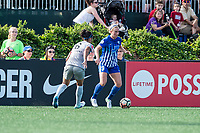 Boston, MA - Saturday June 24, 2017: Abby Erceg and Natasha Dowie during a regular season National Women's Soccer League (NWSL) match between the Boston Breakers and the North Carolina Courage at Jordan Field.