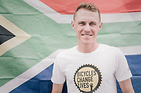 Mandela-day is celebrated at Team Dimesion Data with Serge Pauwels (BEL/Dimension Data) posing in front of the South African flag &amp; wearing a Qhubeka T-shirt<br /> <br /> 104th Tour de France 2017<br /> Stage 16 - Le Puy-en-Velay &rsaquo; Romans-sur-Is&egrave;re (165km)