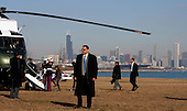 Chicago, Il - February 16, 2009 -- United States President Barack Obama (R) boards with his family on to Marine One from Chicago's Burnham Park, after the families first visit back to Chicago after Obama became president. February 16, 2009. .Credit: Jeff Haynes - Pool via CNP