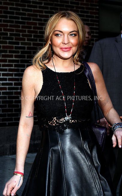 WWW.ACEPIXS.COM....April 9 2013, New York City....Actress Lindsay Lohan made an appearance at the Late Show with David Letterman on April 9 2013 in New York City........By Line: Nancy Rivera/ACE Pictures......ACE Pictures, Inc...tel: 646 769 0430..Email: info@acepixs.com..www.acepixs.com