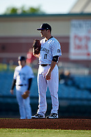 Lancaster JetHawks starting pitcher Ty Culbreth (11) looks to his catcher for the sign during a California League game against the Visalia Rawhide at The Hangar on May 17, 2018 in Lancaster, California. Lancaster defeated Visalia 11-9. (Zachary Lucy/Four Seam Images)