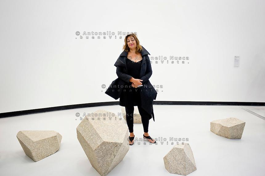 Iraqi-born architect Zaha Hadid during the inauguration of the MAXXI museum she designed. .