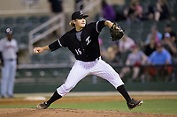 Kannapolis Intimidators relief pitcher Ben Wright (16) in action against the Hickory Crawdads at Kannapolis Intimidators Stadium on April 22, 2017 in Kannapolis, North Carolina.  The Intimidators defeated the Crawdads 10-9 in 12 innings.  (Brian Westerholt/Four Seam Images)