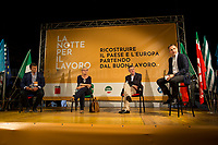 """(From L to R) Pierpaolo Bombardieri, General Secretary of UIL (Italian Labour Union, 3.), Annamaria Furlan, General Secretary of CISL (Italian Confederation of Workers' Trade Union, 2.), Maurizio Landini, General Secretary of CGIL (Italian General Confederation of Labour, 1.) & Massimo Giannini (Editor newspaper La Stampa).<br /> <br /> Rome, 29/07/2020. Today, the three main Italian Trade Unions: CGIL (Italian General Confederation of Labour, General Secretary Maurizio Landini, 1.), CISL (Italian Confederation of Workers' Trade Union, General Secretary Anna Maria Furlan, 2.), UIL (Italian Labour Union, General Secretary Pierpaolo Bombardieri, 3.). held a demonstration in Piazza Santi Apostoli called """"La notte per il Lavoro. Ricostruire il Paese e l'Europa partendo dal buon lavoro"""" (The night for work. Rebuilding Italy and Europe from the good work). Given the crisis caused by the pandemic Covid-19 / Coronavirus, the three General Secretaries asked the Government to block layoffs, an extension of the social safety nets until the end of the year, a tax reform and the fight against tax evasion, the private and public national contractual renewals, investments, health, safety at work, Research, culture, tangible and intangible infrastructures, stable work, digitalization, South of Italy, social security, law on non self-sufficiency, social inclusion and solution of open company crises. Moreover, to urge the government to start an urgent discussion to plan the spending strategy that is about to be launched to use the resources of the EU """"Recovery Fund"""".<br /> <br /> Footnotes & Links:<br /> 1. http://cgil.it/ & https://bit.ly/2E1Al5a (Wikipedia)<br /> 2. https://www.cisl.it /& https://bit.ly/2tj5Txa (Wikipedia)<br /> 3. http://www.uil.it/ & https://bit.ly /2Glf88D (Wikipedia)<br /> 09.02.19 CGIL, CISL, UIL - Trade Unions National Demo in Rome #FuturoalLavoro http://bit.do/fG7GK"""